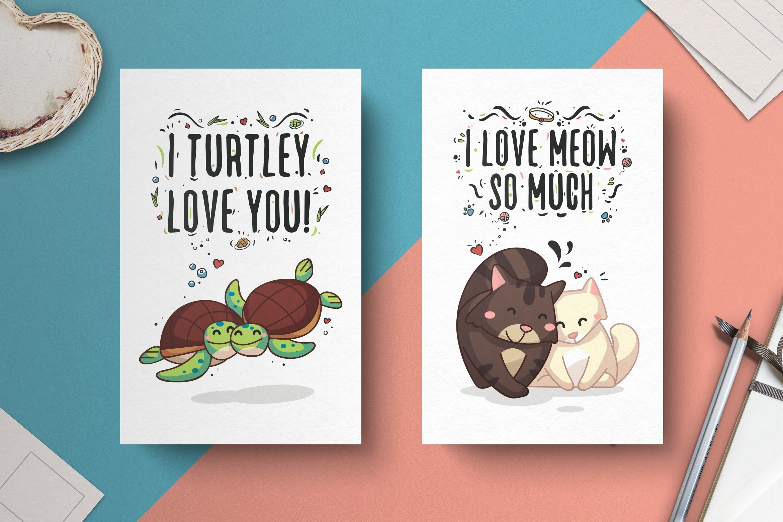 011 Animal Couple Postcard Template