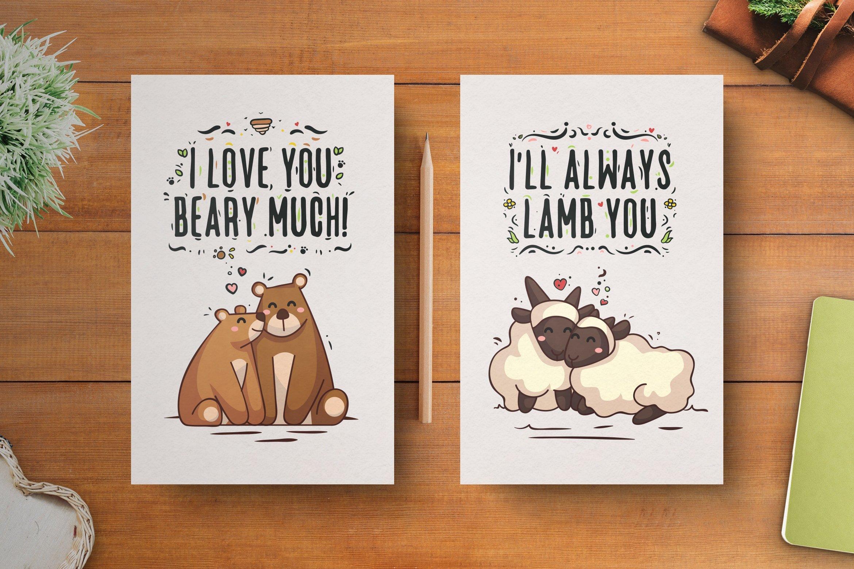013 Animal Couple Postcard Template