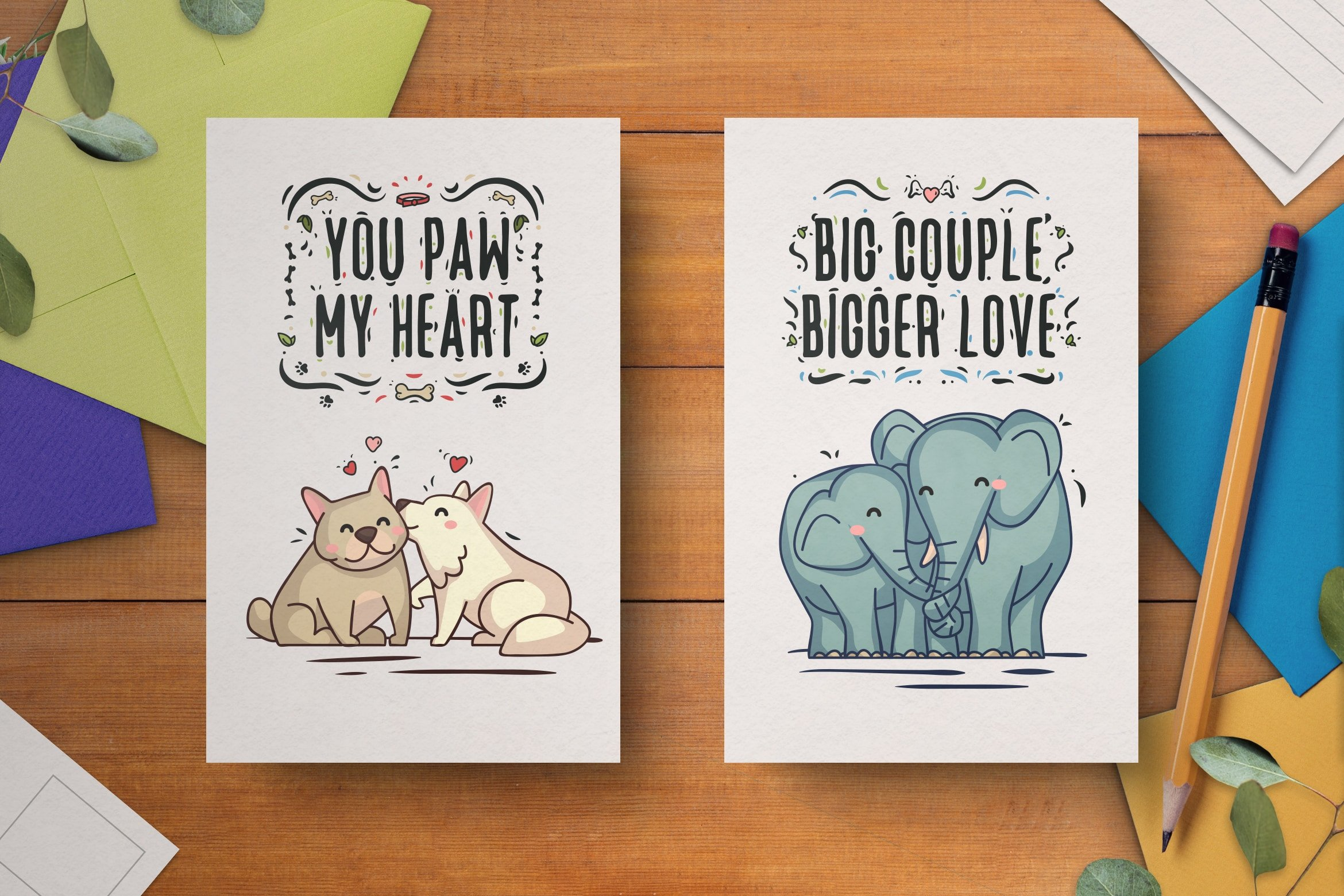 Hand-drawn valentines day card template