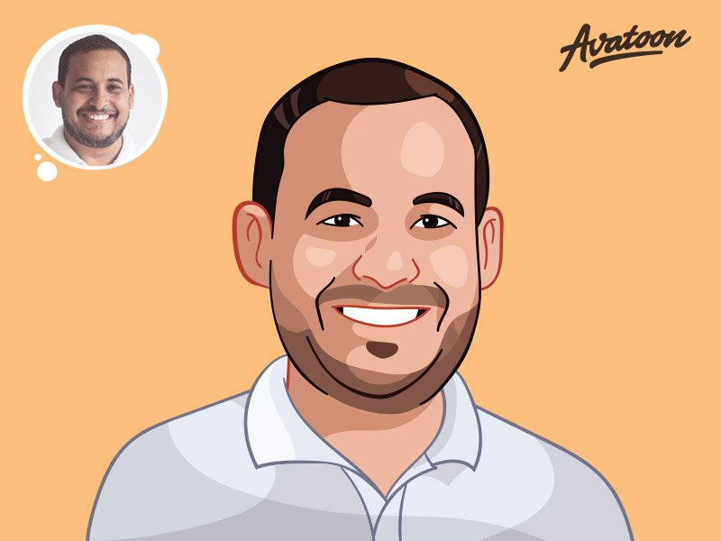 Custom cartoon avatar of a smiling man in white shirt