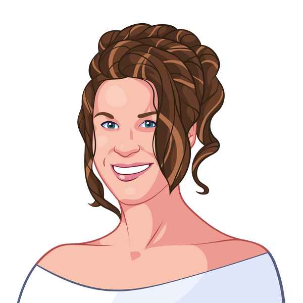 Cartoon style photo from a portrait of bride