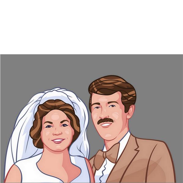 Cartoon-style portrait of bride and groom