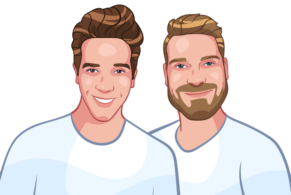 Cartoon style portrait of two brothers