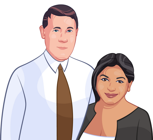 Cartoonized hand-drawn portrait of a loving couple