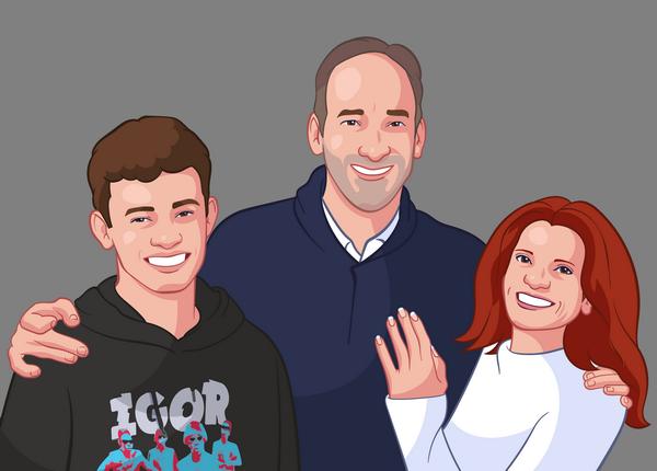 Cartoonized portrait from a family photo