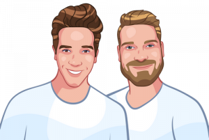 family cartoon photo - two brothers