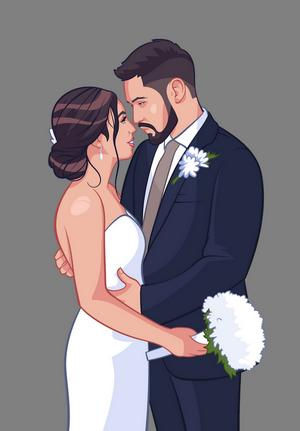photo of newlyweds in cartoon style