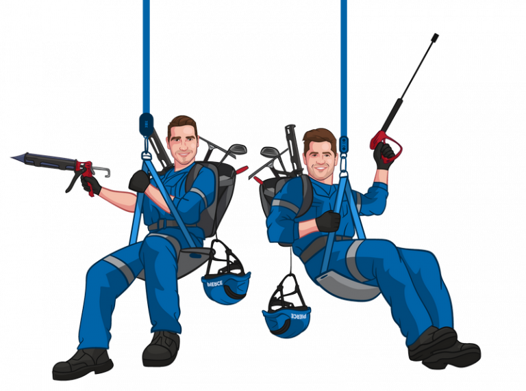 funny caricature style photo of a cleaning company team